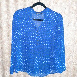 GUC blue and white dotted popover blouse PL A.N.A.